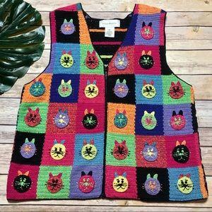 Vintage Crochet Hand Knit Cat Vest